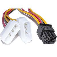 02-08-02. Кабель питания для видеокарт (6pin- 2x PCI-E), длина-15см