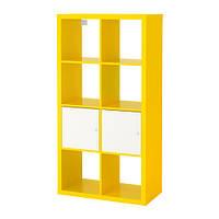 KALLAX Стеллаж с дверцами, желтый/белый
