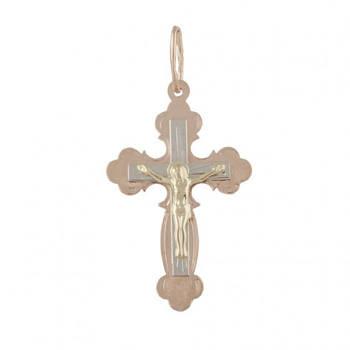 Золотой нательный крестик с распятием 31416