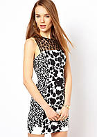 Полная распродажа. Платье Anne Klein в черно - белых тонах с шифоновым верхом KM70304