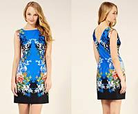 Распродажа остатков. Лазурное платье Klimeda с цветочным восточным принтом KM70092