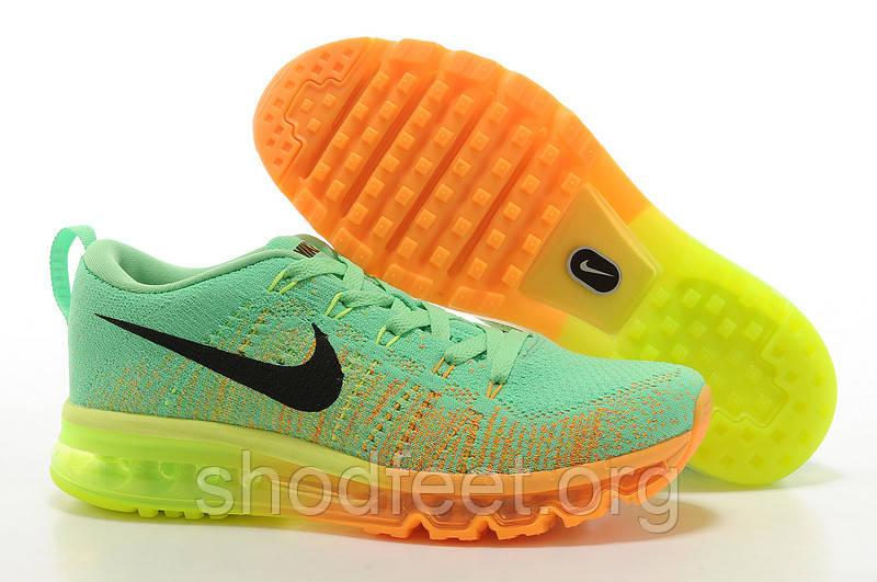 Женские кроссовки Nike Air Max 2014 Flyknit Green/Orange