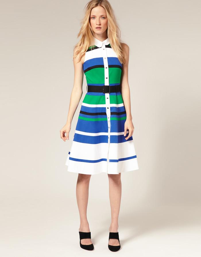 86653848042 Распродажа остатков. Полосатое платье Karen Millen на кнопках под пояс  KM70071 - Супермаркет одежды Modamart