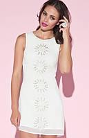 Полная распродажа. Скидки до 70%. Белое воздушное платье Klimeda расшитое бисером KM70286