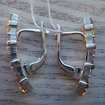 Серебряные серьги со вставками из разноцветных фианитов, фото 3