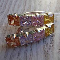 Серебряные серьги со вставками из разноцветных фианитов, фото 2