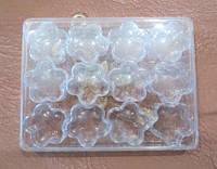 Органайзер-цветок 3 см, высота 1,7 см, в наборе 12 шт в пластиковом прозрачном футляре - для мелкой фурнит.