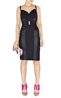 Распродажа остатков. Скидка до 70%. Черное платье Karen Milee с атласными вставками и декором на груди KM70171