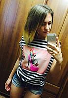 Модная летняя хулиганка полосатая с принтом. Арт-5399/55