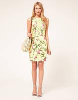 Оригинал. Распродажа. Платье Karen Millen нежно-желтого цвета с цветочным принтом KM70244