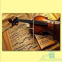 Модульная картина Скрипка и ноты из 3х фрагментов, фото 1
