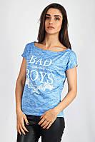 Голубая модная футболка с надписью. Арт-5402/55