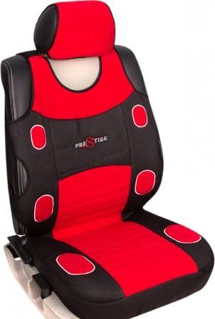 Чехол майка для сидений Комплект 4шт+5подголовников, Milex красный+темно-серый цвет