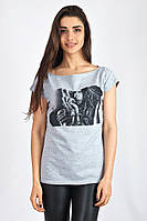Летняя серая футболка с рисунком. Арт-5403/55