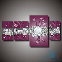 Модульная картина Алмазы и бриллианты из 4х фрагментов, фото 1