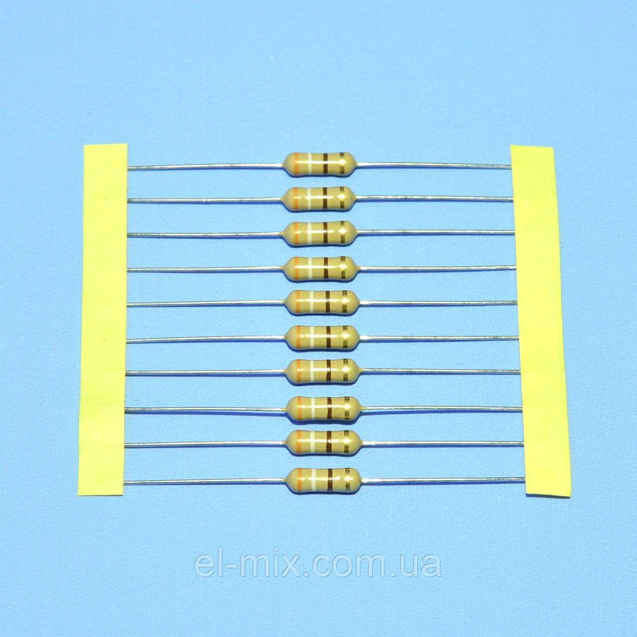 Резистор  1Вт 390 Om 5% CF d3,2 L9 стрічка  SR Passives
