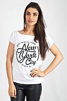 Белая стильная футболка-хулиганка с надписью. Арт-5404/55
