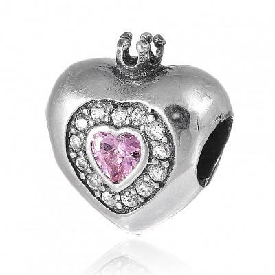 Шарм бусина Пандоры Розовое сердце серебро 925 пробы П5ФА/8008
