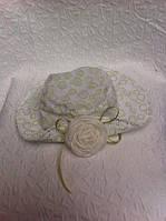 Детская панама в абстрактный кружочек с розой
