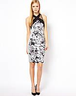 Оригинал. Распродажа остатков.Черно - белое платье Karen Millen с принтом из цветов KM70351