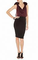 Оригинал. Финальная распродажа. Черно - карминовое платье Karen Millen с объемным декором KM70185