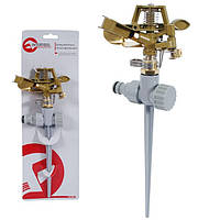 Дождеватель пульсирующий с полной/частичной зоной полива на костыле, круг/сектор полива до 12м. Brass, Zinc all INTERTOOL GE-0052