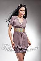Женское платье Trikobakh с пайетками кофейного цвета T585-7