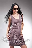 Распродажа. Женское стильное платье с карманами Trikobakh коричневого цвета T668-7