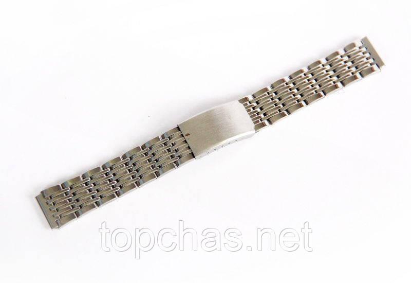 Браслет стальной Nobrand для наручных часов, замок с фиксатором, серебряный, 18 мм