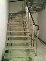 Стеклянные лестницы колотый лед