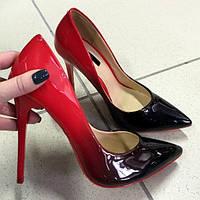 Туфли Christian Louboutin омбре красно-черные