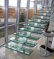 Стеклянные лестницы со ступенчатым косоуром
