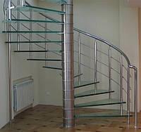 Стеклянные лестницы винтовые с поручнем