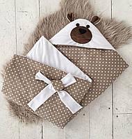 Плед для новорожденного на выписку Мишка белый