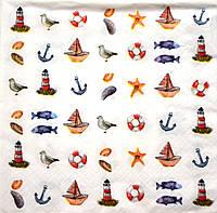 """Салфетка для декупажа """"Морские миниатюры"""", размер 33*33 см, трехслойная"""