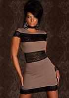 Полная распродажа. Платье жемчужно серого цвета с гипюровыми вставками L2375