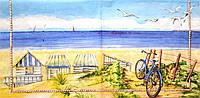 """Салфетка для декупажа """"Морской пейзаж, велосипед """", размер 25*25 см, трехслойная"""