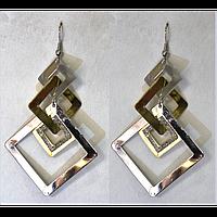 Серьги подвески, квадраты с алмазным напылением, металл под золото 000669