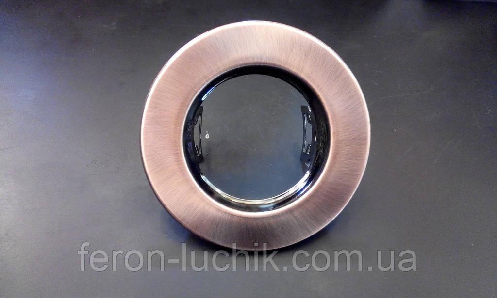 Вбудований світильник Feron DL10 G5.3 МR-16 антична мідь