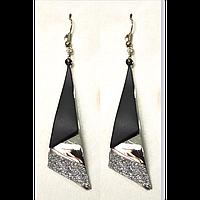 Серьги подвески, черная фигура с алмазным напылением, металл под золото 000670