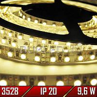 Светодиодная лента SMD 3528, ТЕПЛЫЙ БЕЛЫЙ, 12 В, 9,6 Вт, 120 шт/м, IP20, (Standart)