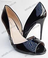 Женски лаковые босоножки каблук 10,5см. Черные