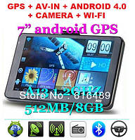 7 Inch Smart GPS Navigation Android 4.04 OS,CPU-1.2GHZ 512MB/8GB IGO Primo+Navitel 7.0