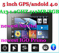 5 Inch Smart GPS Navigation Android 4.04 OS,CPU-1.2GHZ 512MB/8GB IGO Primo+Navitel 7.0 , фото 1