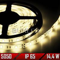 Светодиодная лента SMD 5050, ТЕПЛЫЙ БЕЛЫЙ, 12 В, 14,4 Вт, 60 шт/м, IP65, (Standart)