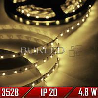 Светодиодная лента SMD 3528, ТЕПЛЫЙ БЕЛЫЙ, 12 В, 4,8 Вт,  60 шт/м, IP20, (Premium)