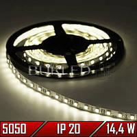 Светодиодная лента SMD 5050, ТЕПЛЫЙ БЕЛЫЙ, 12 В, 14,4 Вт, 60 шт/м, IP20, (Premium)