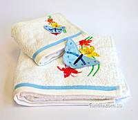 Мягкое хлопковое полотенце с объемной апликацией- бабочкой 30x50 см Мидов цвет белый