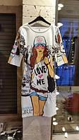 Повседневное платье с рисунком девушка в городе