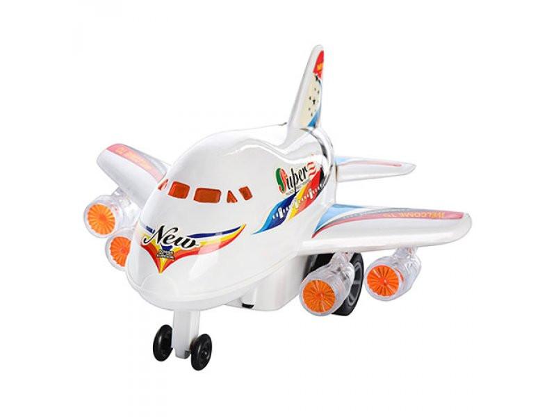 Самолет арт 0869 заводной,свет, на батарейке, в кульке, 20-12-18 см